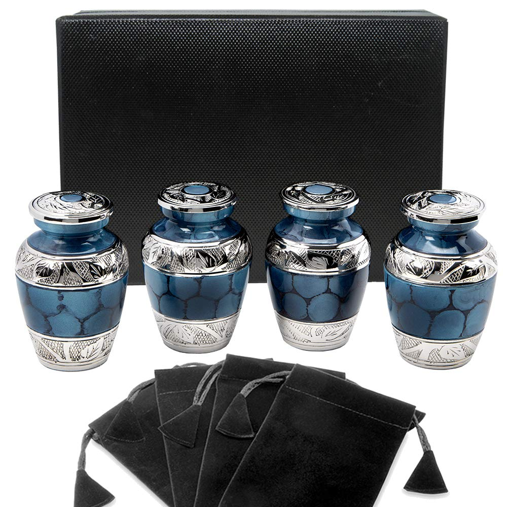 Heavenly Peace Dark Blue Small Keepsake Urns for Human Ashes - Set of 4 - Beautiful Mini Keepsake Sharing Urns to Honor Your Love One - with Case and 4 Individual Velvet Bags by Trupoint Memorials