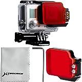 Plongée sous-marine couleur rouge filtre pivotant Noir Cadre en aluminium pour GoPro Hero 3+ 4 étui LF632