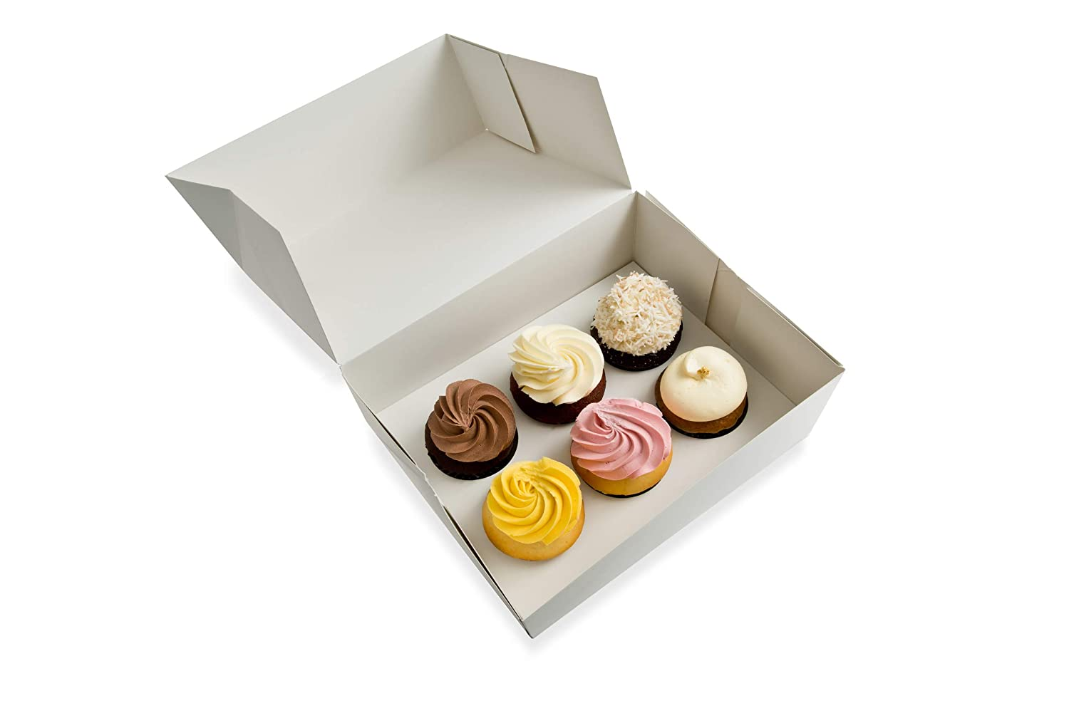 Six Cupcake Boxes with 6 Cupcake Inserts Included - Sets of 25 - Free Shipping - Just Pops Open - Ships Flat