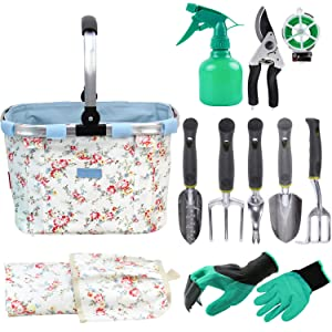 INNO STAGE Garden Tools Set with 11 Pieces Hand Tools for Women, Garden Tools Bag with Heavy Duty Tools, Garden Tool Organizer with Foldable Handle, Gardening Gifts for Mom(Floral)