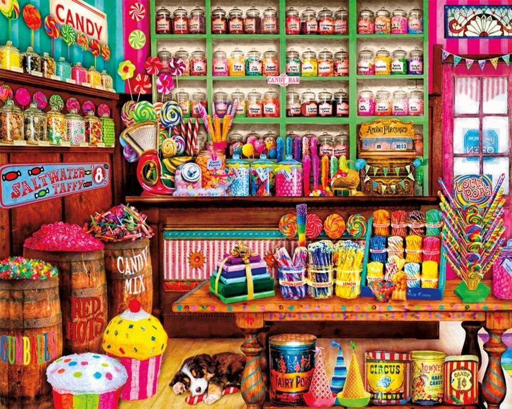 Iyyuor 5D Sweet Candy Shop Full Diamond Painting Cross Stitch Kits Art Food 3D Paint by Diamonds Square 30x40cm