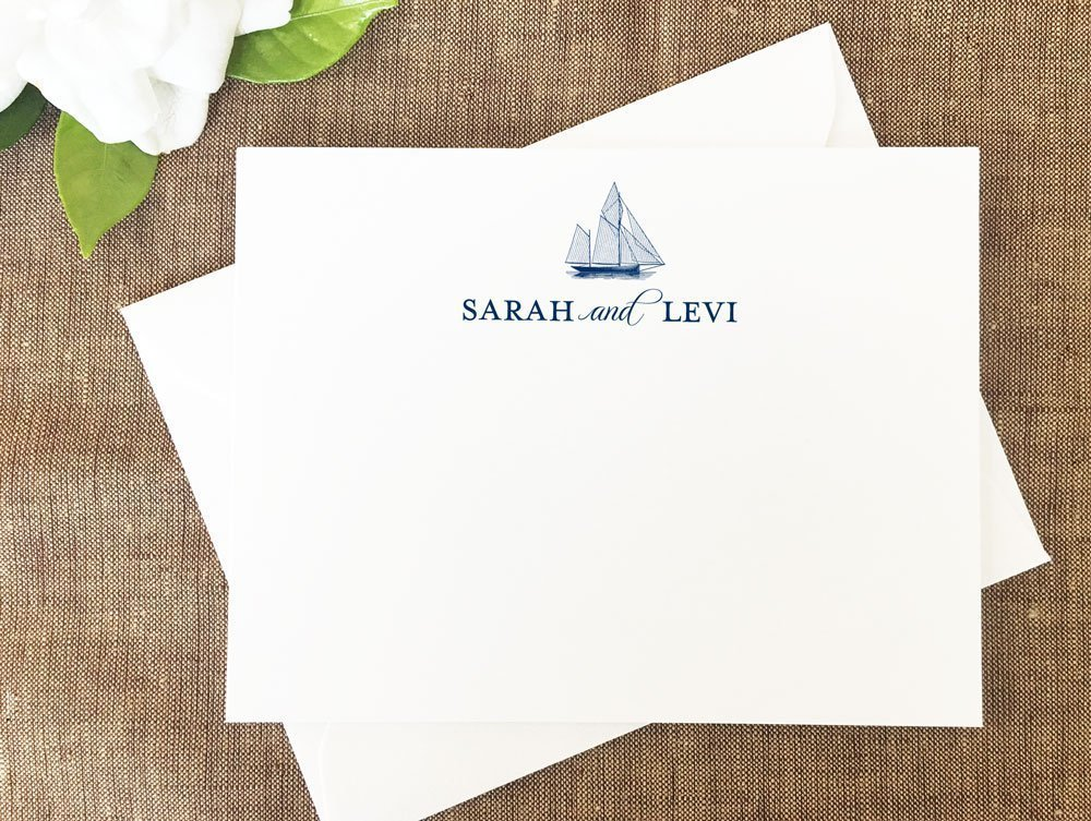 Sailboat Thank You Notes, Sailboat Personalized Stationary, Personalized Nautical Note Cards