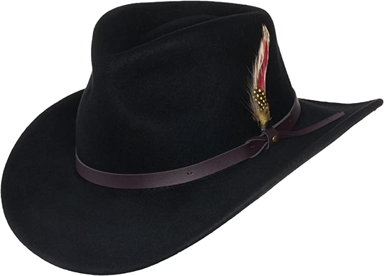 Mens Outback Wool Cowboy Hat Montana Brown Crushable Western Felt Silver Canyon