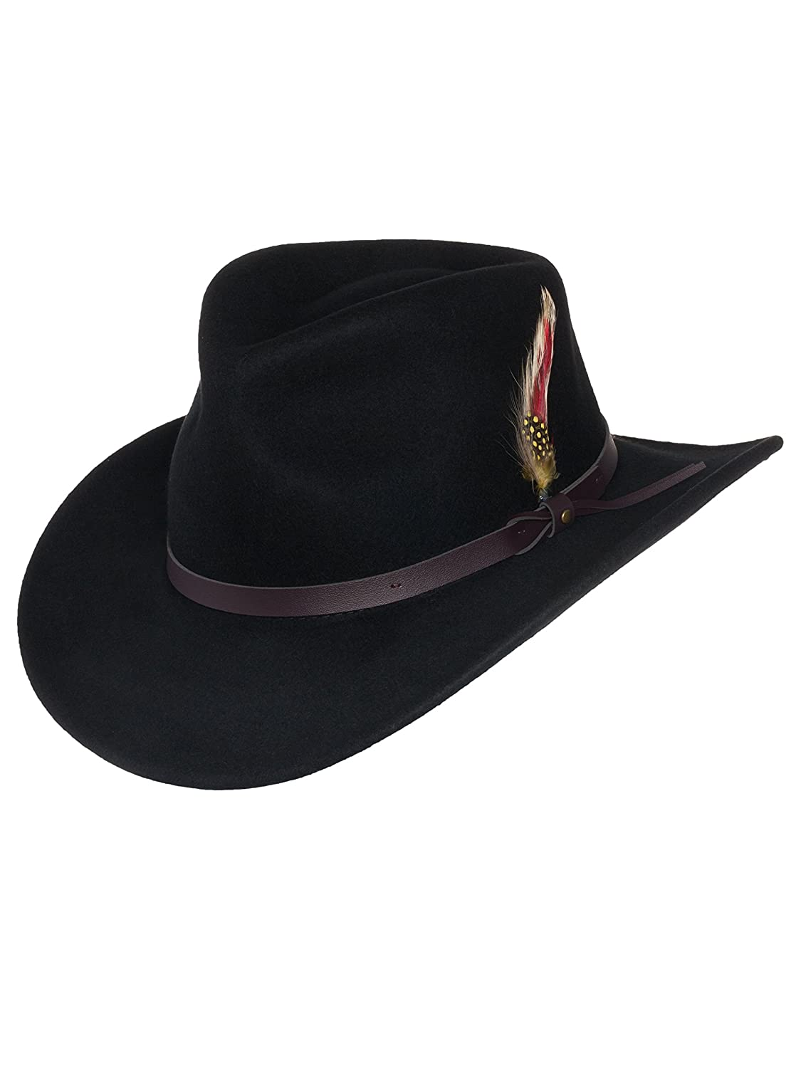 8bc4eef67 Men's Outback Wool Cowboy Hat |Montana Black Crushable Western Felt ...