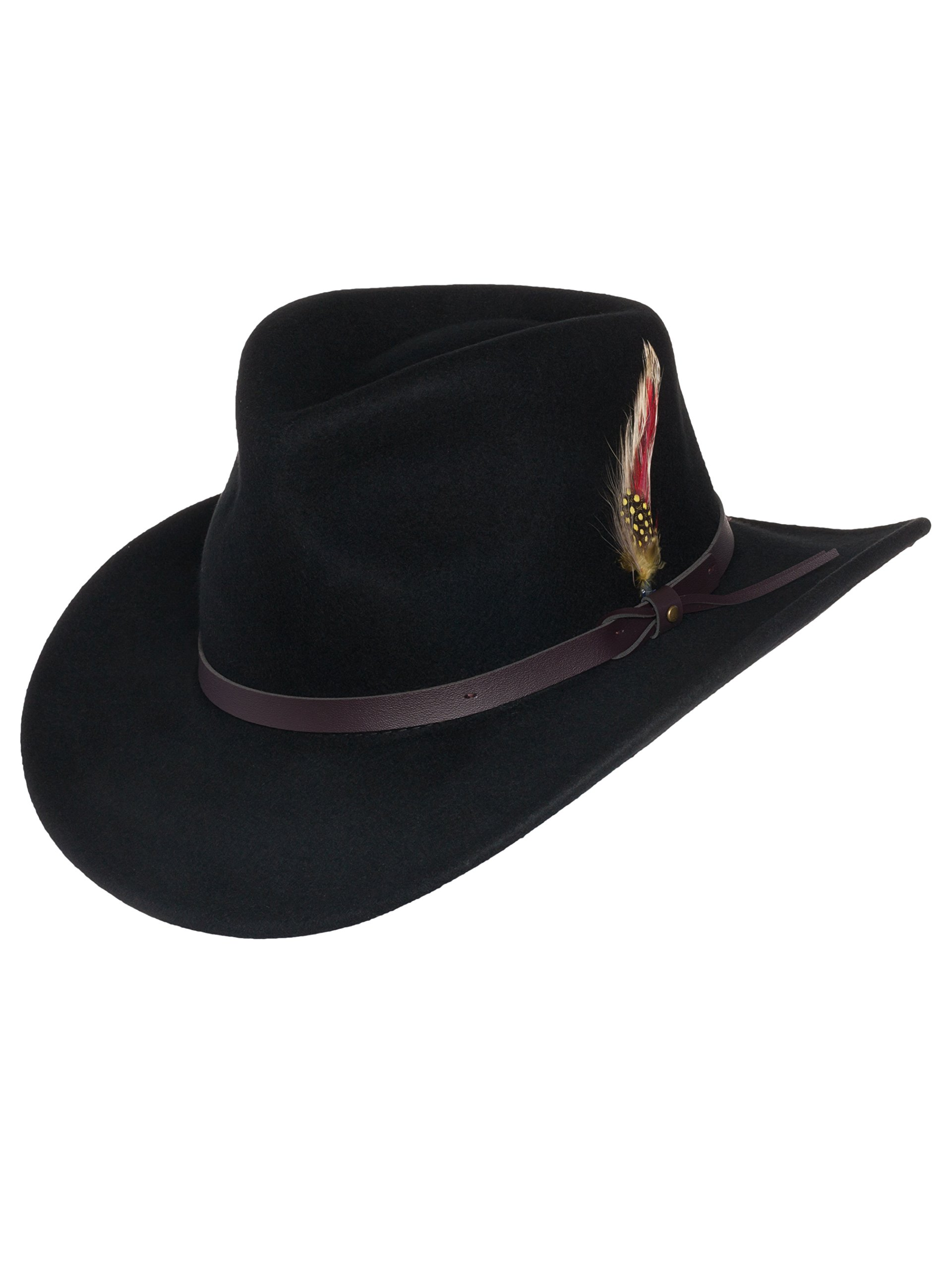 Men's Outback Wool Cowboy Hat Montana Black Crushable Western Felt by Silver Canyon, Black, Medium
