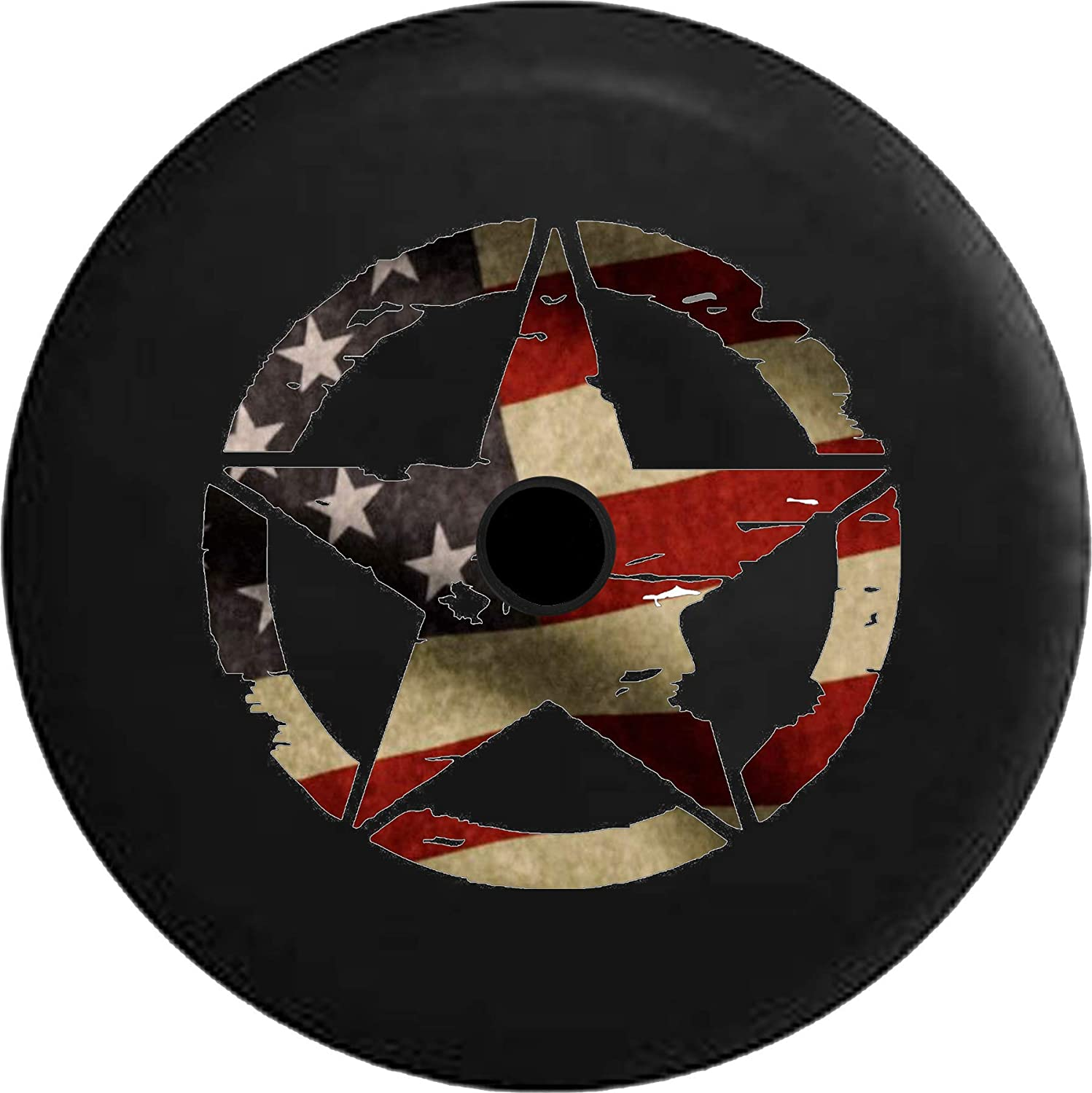 JL Series Jeep Spare Tire Cover with Backup Camera Hole Oscar Mike Military Jeep Star Vintage American Flag Black 32 in Sport Covers