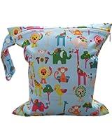 Baby Infant Waterproof Zipper Reusable Cloth Diaper Bag (Multi Animal Pattern Light Blue)