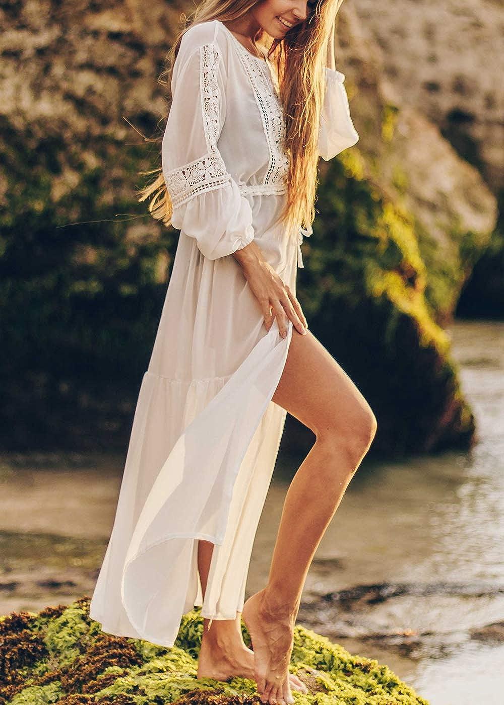 AiJump Donna Chiffon Boh/émien Caftan Vestito Lungo da Spiaggia Abito Maxi Parei Costume da Bagno Cover Up
