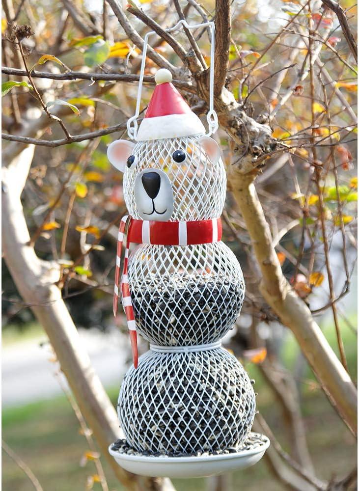 F&T Outdoor Wild Bird Feeder, Metal Hanging Bird Feeder for Outdoor Garden Yard Decoration (Bear)
