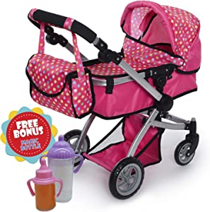 Exquisite Buggy   Foldable Pram For Baby Doll With Polka Dots Design With Swiveling Wheel Adjustable Handle With 2 Free Magic Toy Bottles