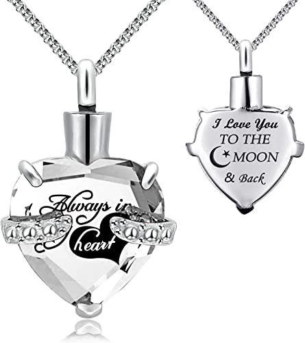 Always With Me Heart Cremation Jewelry Pendant Urn Keepsake Necklace For Ashes