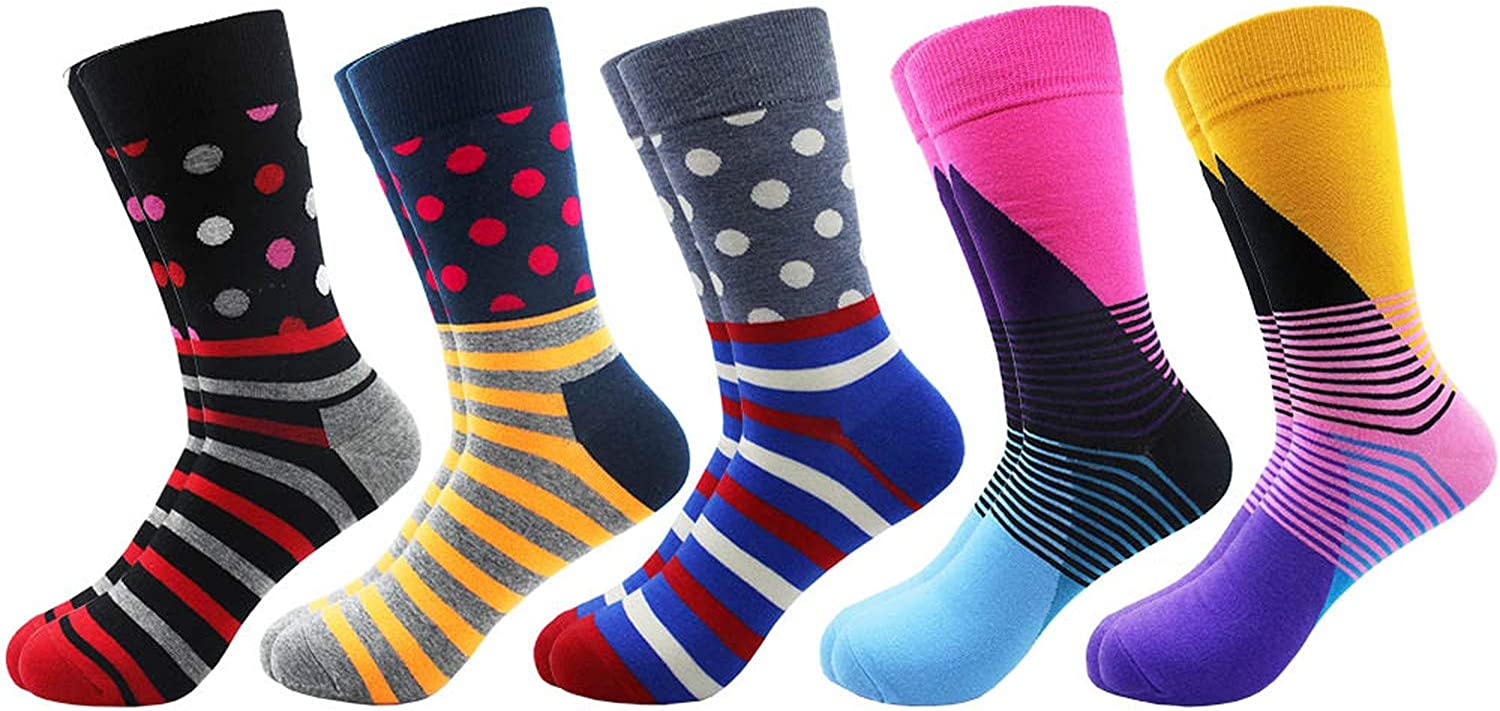 5 pairs//lot Men Combed Cotton Socks Popular Retro Art Oil Painting Style Funny Men Long Socks Colorful Casual Socks