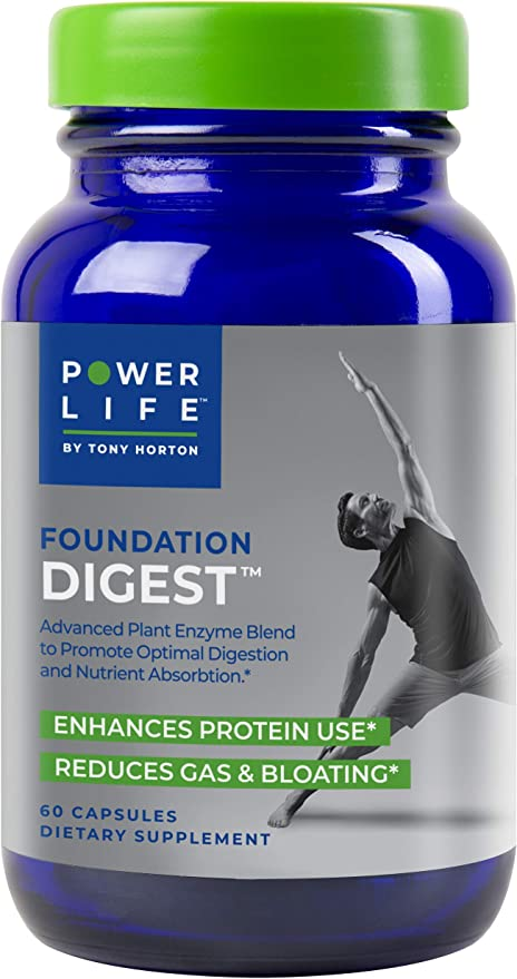 Tony Horton PowerLife® Foundation Digest Advanced Plant Enzyme Blend to Promote Optimal Digestion and Nutrient Absorption, 60 Count