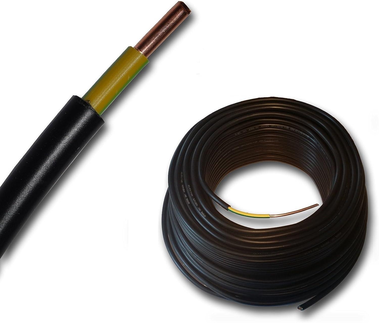 schwarz ab 5m frei w/ählbar Erdkabel gro/ße Mengenauswahl Erdungskabel NYY-J 1x6 mm/² in einer L/änge geliefert