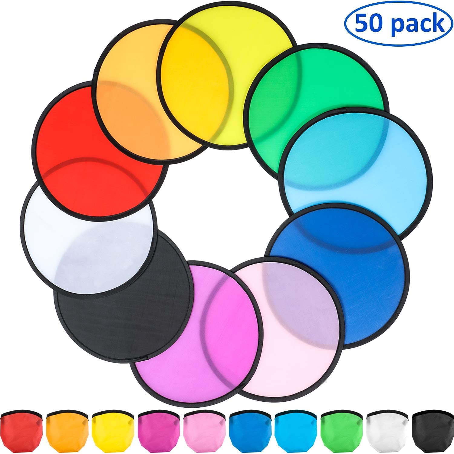 6 Colors Coopay 30 Pieces Foldable Flying Disc//Fan Frisbees with Bag Folding Pocket Toy Set for Kids Fun Birthday Party Favors Summer Outdoor Activity Game
