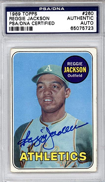 Reggie Jackson Autographed 1969 Topps Rookie Card 260 Oakland As