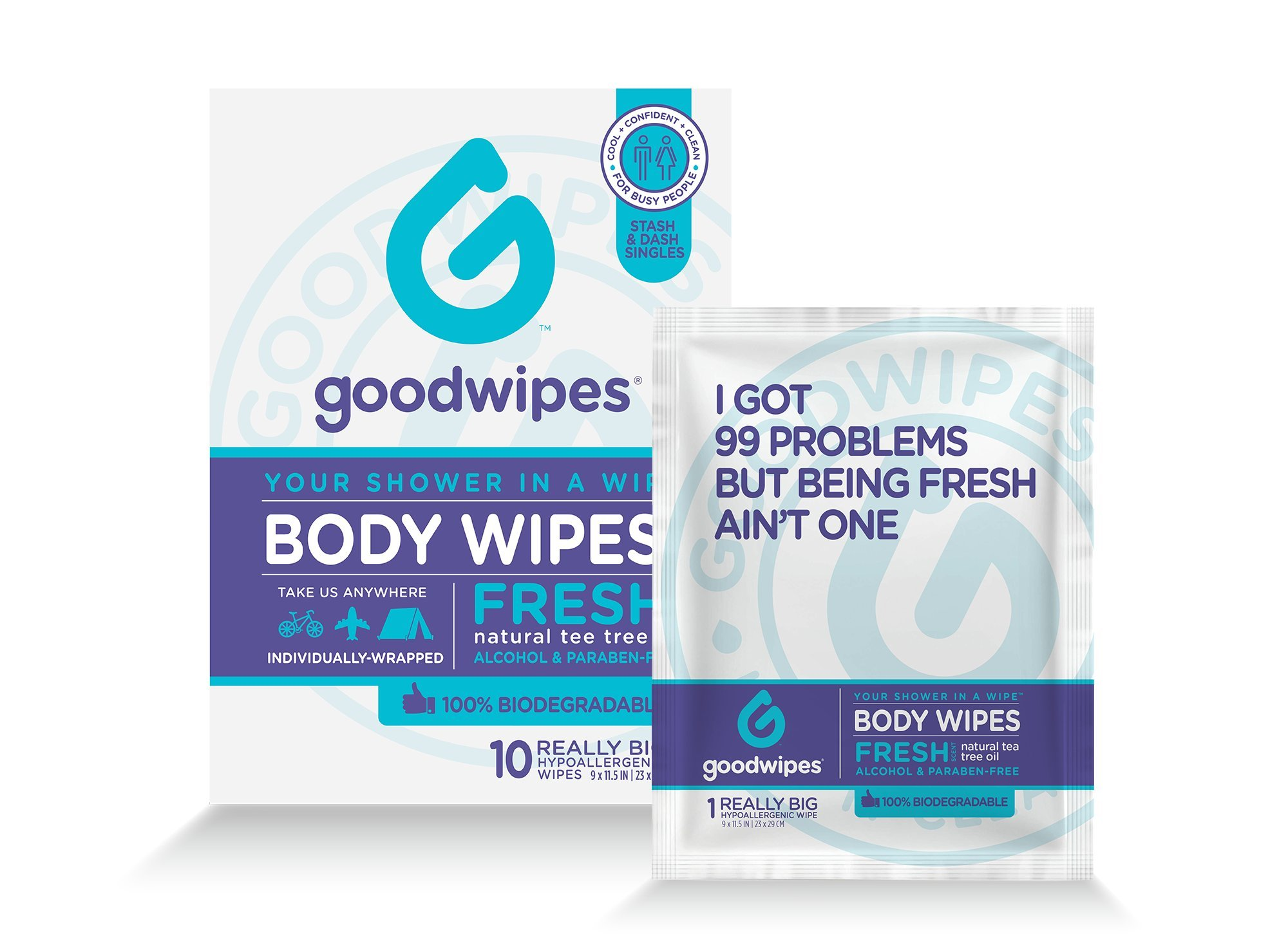 Goodwipes Hygiene Wipes for When You Can't Shower, Hypoallergenic, Really Big Body Wipes with Natural Tea Tree Oil and Cooling Peppermint, Stash-and-Dash Singles for Travel, Pack of 10