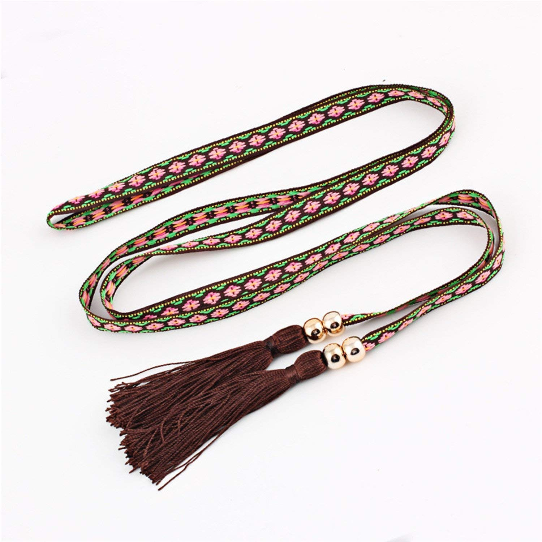Mainstream Fashion Ladies dress tassel belt strap braided belt,170cm,Coffee