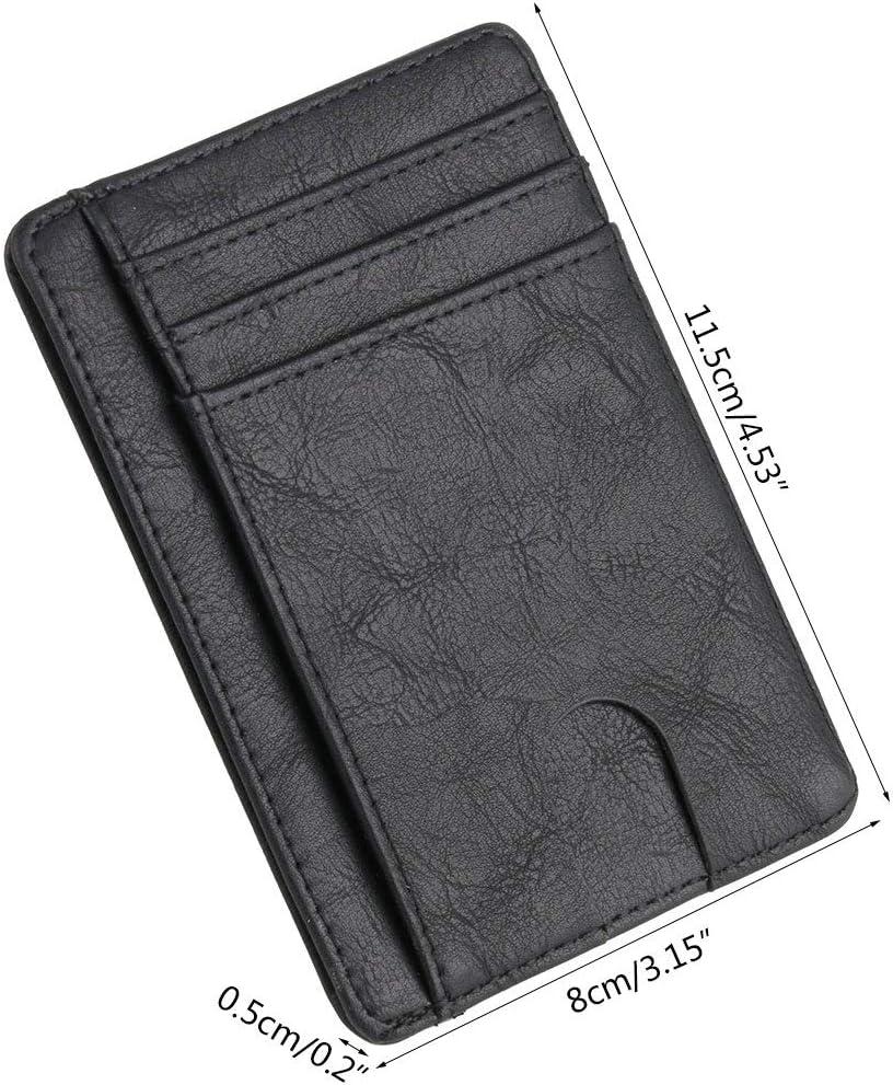VIccoo Portefeuille 11.5x8x0.5cm//4.53x3.15x0.2 Blocage en Cuir Mince Portefeuille Cas de Carte didentit/é de cr/édit Porte-Monnaie Sac /à Main pour Hommes Femmes