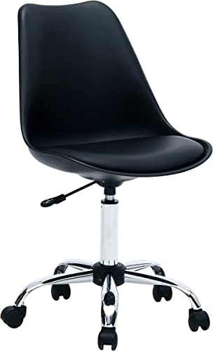 Porthos Home Adjustable Height Cushioned Seat Office Desk Chair with Chrome Base and Caster Wheels, Easy Assembly, One Size, Black