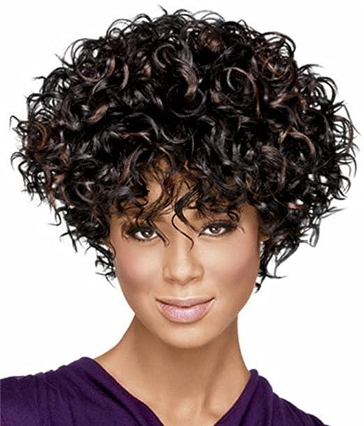 Americana Hermosa peluca africana sintético corto y rizado pelo rizado afro peluca para las mujeres negras