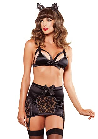 e05cda3e5e6ba Amazon.com  Leg Avenue Women s Satin Cage Strap Bra and Garter Skirt ...