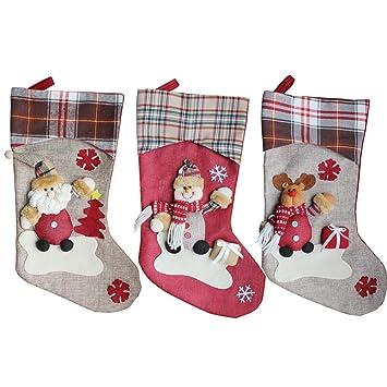 quner calcetines navideños (Papá Noel, muñeco de nieve y Elk Kits de calcetín de Navidad decoración regalo de Navidad: Amazon.es: Hogar