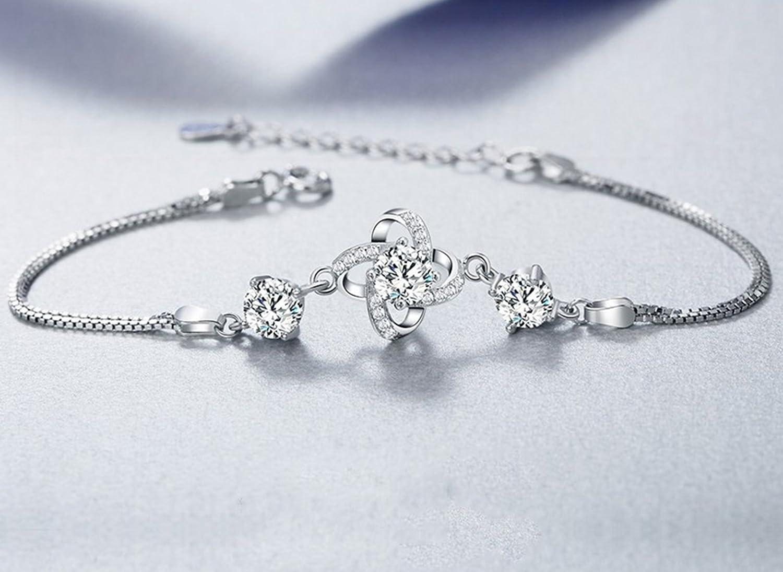 J.F/ée FINE JEWELLERY J F/ée Fine Bijoux plaqu/é Argent Sterling R/églable Bracelet pour Femme /Cadeau pour Elle /♥ Tr/èfle Zirconium Bracelet pour Filles/