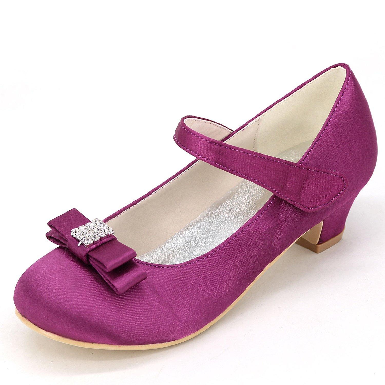 Elobaby KT258 Zapatos De La Boda De La Muchacha Moda Flores TacóN SatéN Cerrado Toe Kitten Nuevo OtoñO/3.5cm TacóN 34 EU|Purple