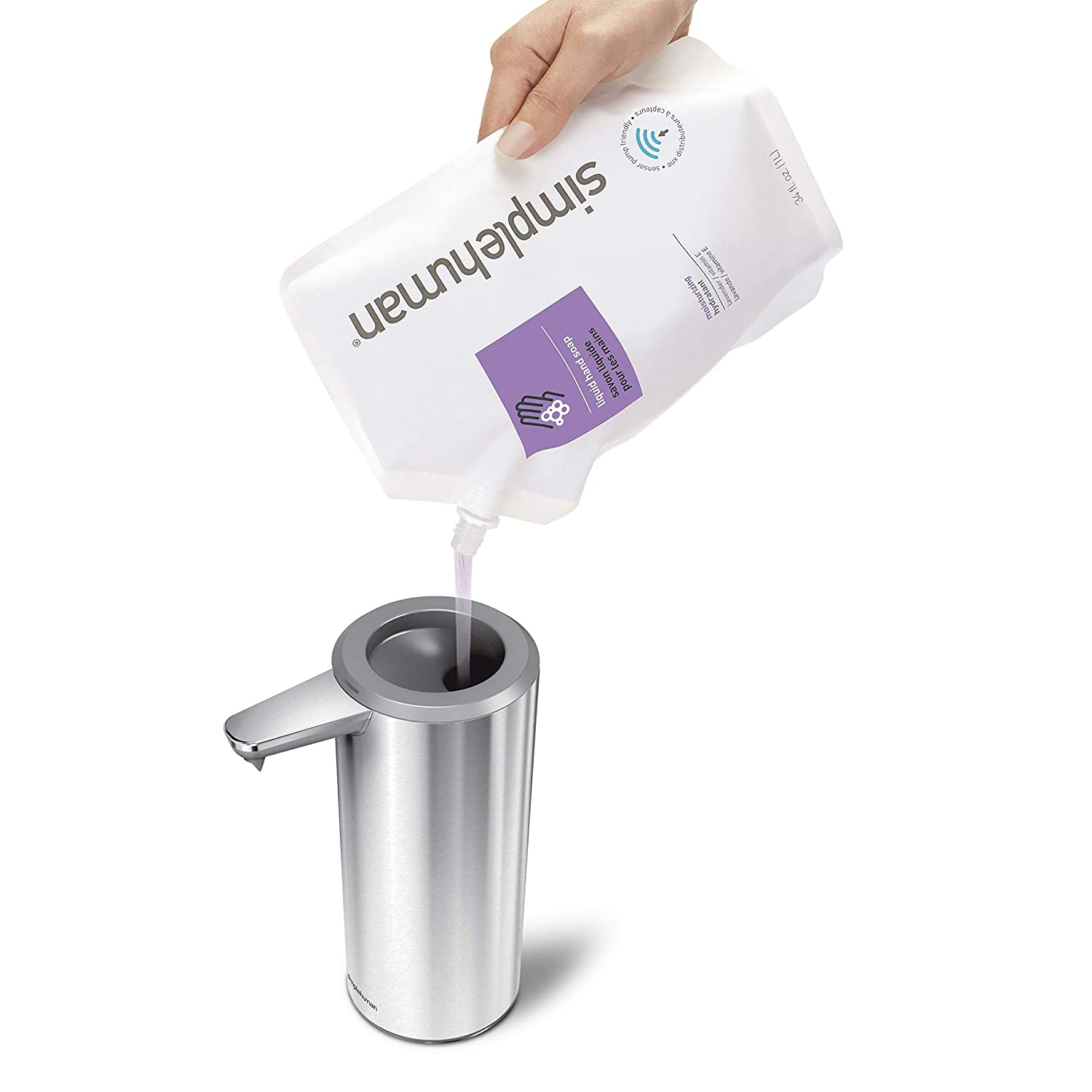 Sensor Soap Pump Rechargeable Brushed Stainless Steel simplehuman 9 oz