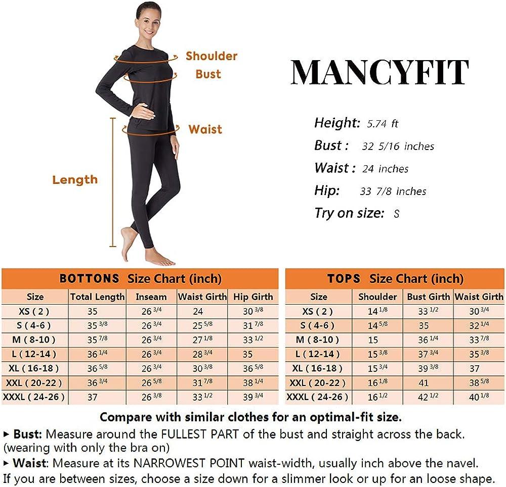 MANCYFIT Thermal Underwear for Women Fleece Lined Long Johns Set 3 Pack