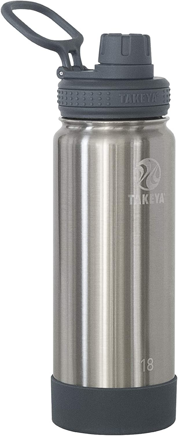 Takeya Actives Insulated Stainless Steel Water Bottle with Spout Lid, 18 oz
