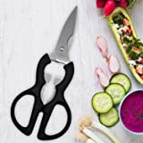 Kurtzy Stainless Steel Multi-Function Scissors to Cut Chop Slice Vegetables Fruits Meat Nutcracker and Bottle Opener for Kitchen