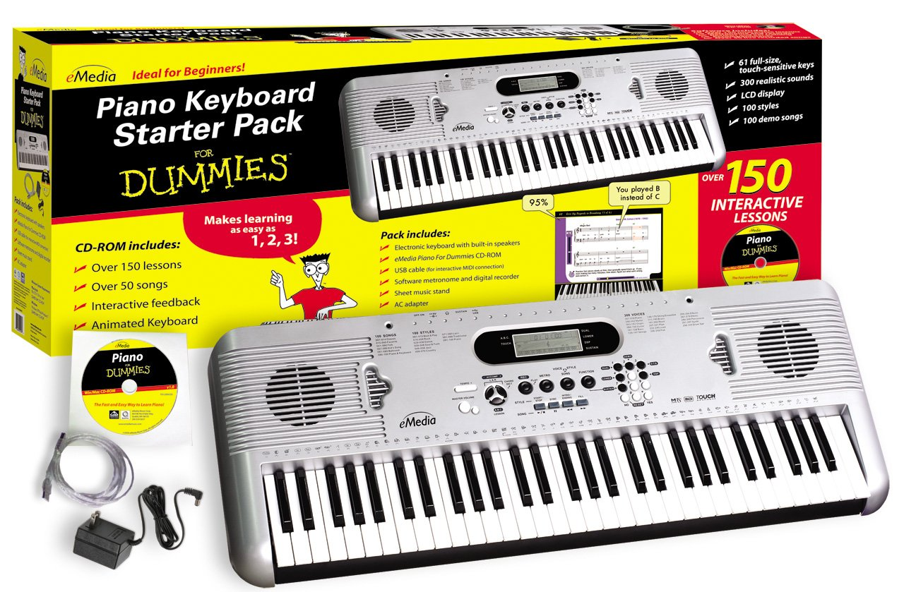 eMedia Piano Keyboard Starter Pack For Dummies (61-key USB-MIDI keyboard with piano lessons) by eMedia