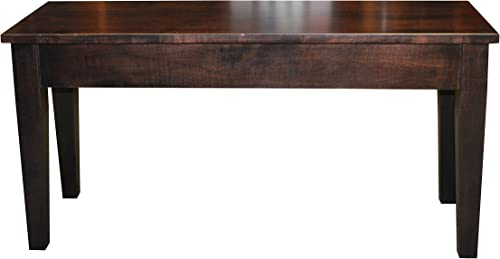 Wooden Piano Bench, Shaker, Storage, 4 Feet, Brown Maple Wood, Rich Tobacco Stain