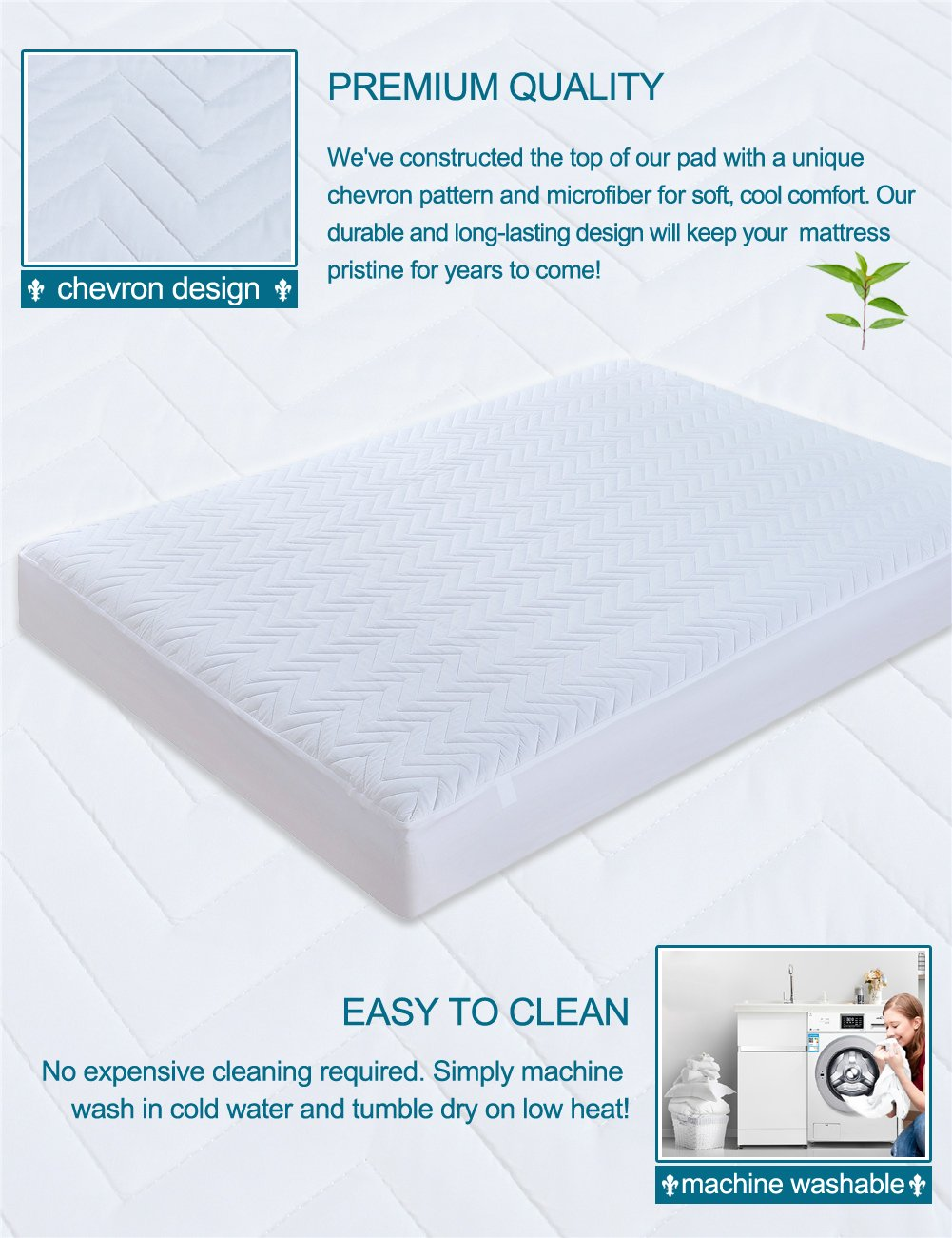 amazon com cieltown waterproof mattress pad by premium