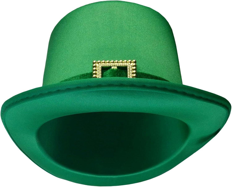 Patrick/'s Day Leprechaun Green Satin Top Hat W//Buckle And Green Heart Tiara St