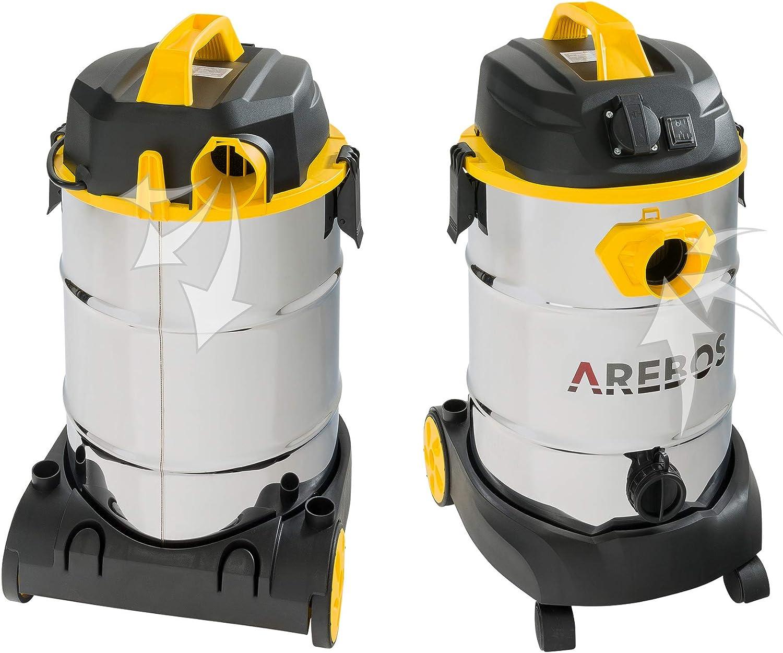 Gelb Staubsauger 30L Beh/älter Arebos Industriestaubsauger 1600W Industriesauger mit und ohne Beutel Nass- /& Trockensauger