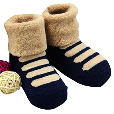 1 Pair Baby Winter Cotton Socks Thick Warm Socks 0-3 Years (navy blue)