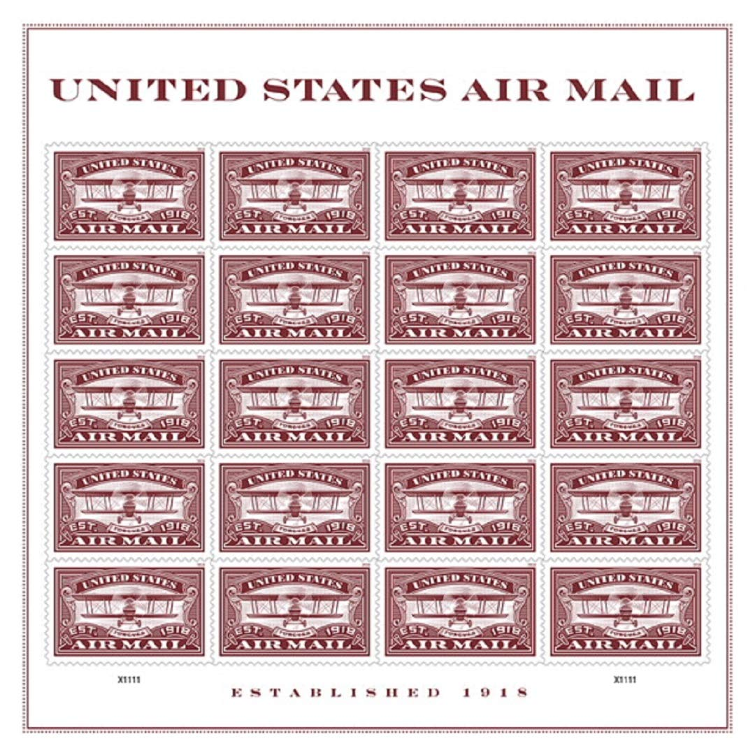 Air Mail Commemorative Forever Stamps by USPS (Red, 1 Sheet of 20)