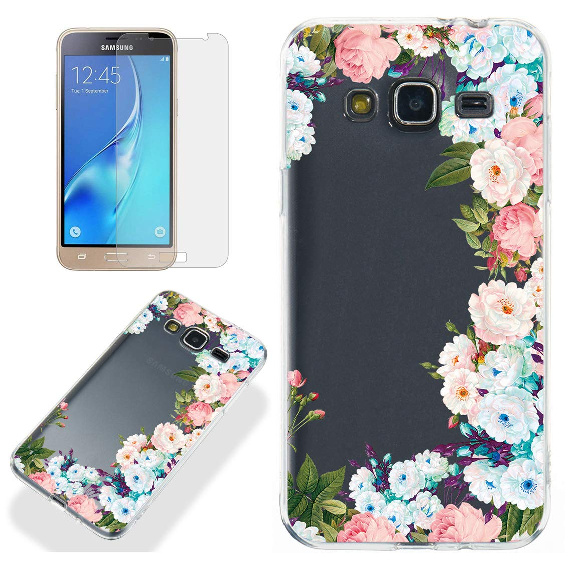 Clear Case for Samsung Galaxy J3 2016 with Screen Protector,QFFUN Ultra Thin Slim Fit Soft Transparent Silicone Phone Case Crystal TPU Bumper Shell Shockproof Protective Cover - Flowers