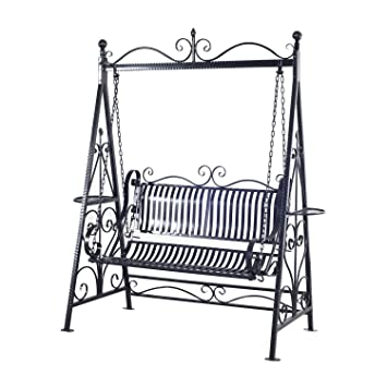 Outsunny Outdoor Garden Patio Cast Iron Metal Vintage Style Swing Chair  Hammock Bench   Black
