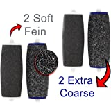 4 Pieces Pedicure Rollers Replacements Roller for Velvet Smooth Pedi Electric = 2x Extra Rough +2 x Fine