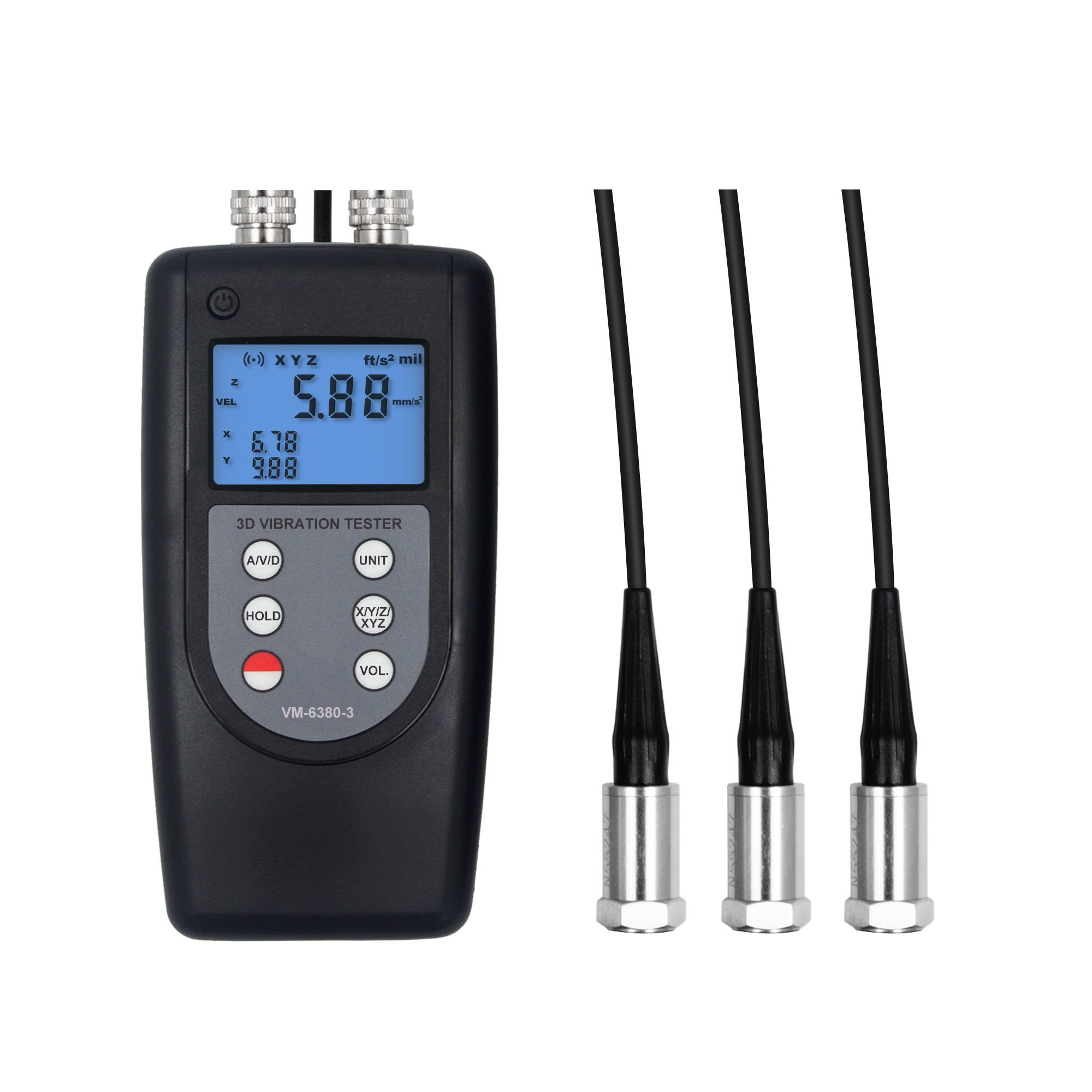 Landtek Vibration Meter Tester VM-6380-3 Imblance & Moving Measurement 3 Channels Parameters 0.1~400m/s² 10Hz~10kHz