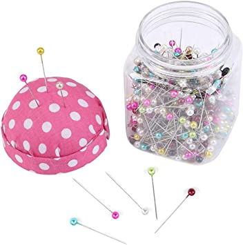 Without Needle Thread Accessory, Random Color Cabilock Pin Cushion Jar Fabric Covered pin Cushion Bottle Sewing Craft Pin Cushion For Sewing
