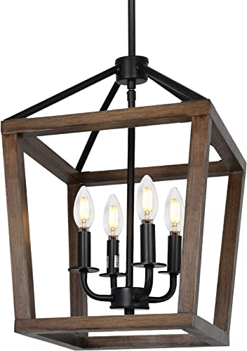 4-Light Rustic Chandelier, Adjustable Height Lantern Pendant Light with Oak Wood and Iron Finish, Farmhouse Lighting Fixtures for Dining Room, Kitchen, Hallway and Entryway, ETL Listed