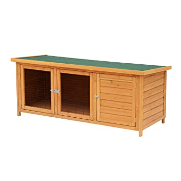Pawhut 5ft Wooden Waterproof Rabbit Hutch And Run Outdoor Pet Poultry Ark House Small Animal Constructed Cage Wdoors Roof