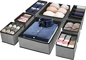 (8 Set) Puricon Clothes Organizers Dresser Drawer Organization, Foldable Closet Organizer Underwear Basket Cubes Containers for Storing Bras, Baby Clothing, T Shirt, Socks, Scarves, Ties -Grey