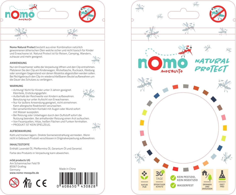 nomo MOSQUITO gegen M/ücken 1 Anti M/ücken Clip h/ält 30 Tage M/ückenschutz Clip f/ür Baby und Kinder 100/% pflanzlich