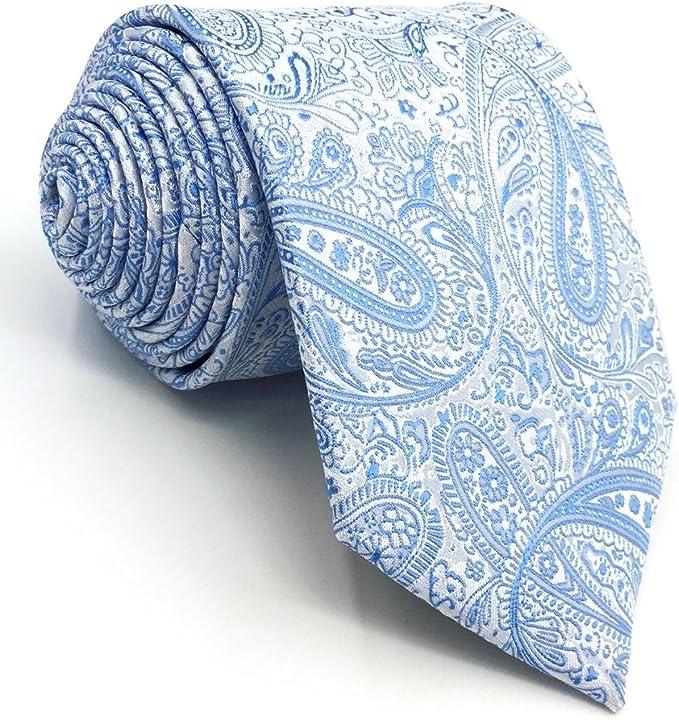 SHLAX&WING Nuevo Corbatas Para Hombre Cachemir Plateado Azul for ...